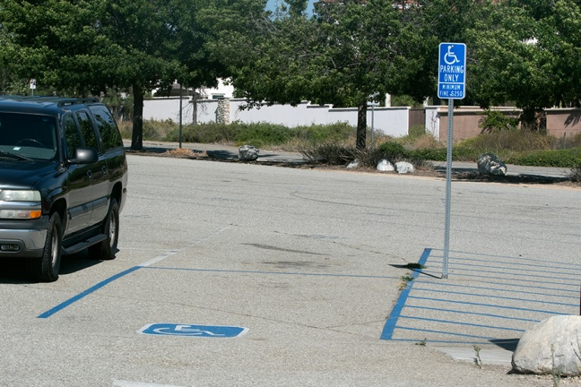 Two parking spaces for disable persons in the south lot.